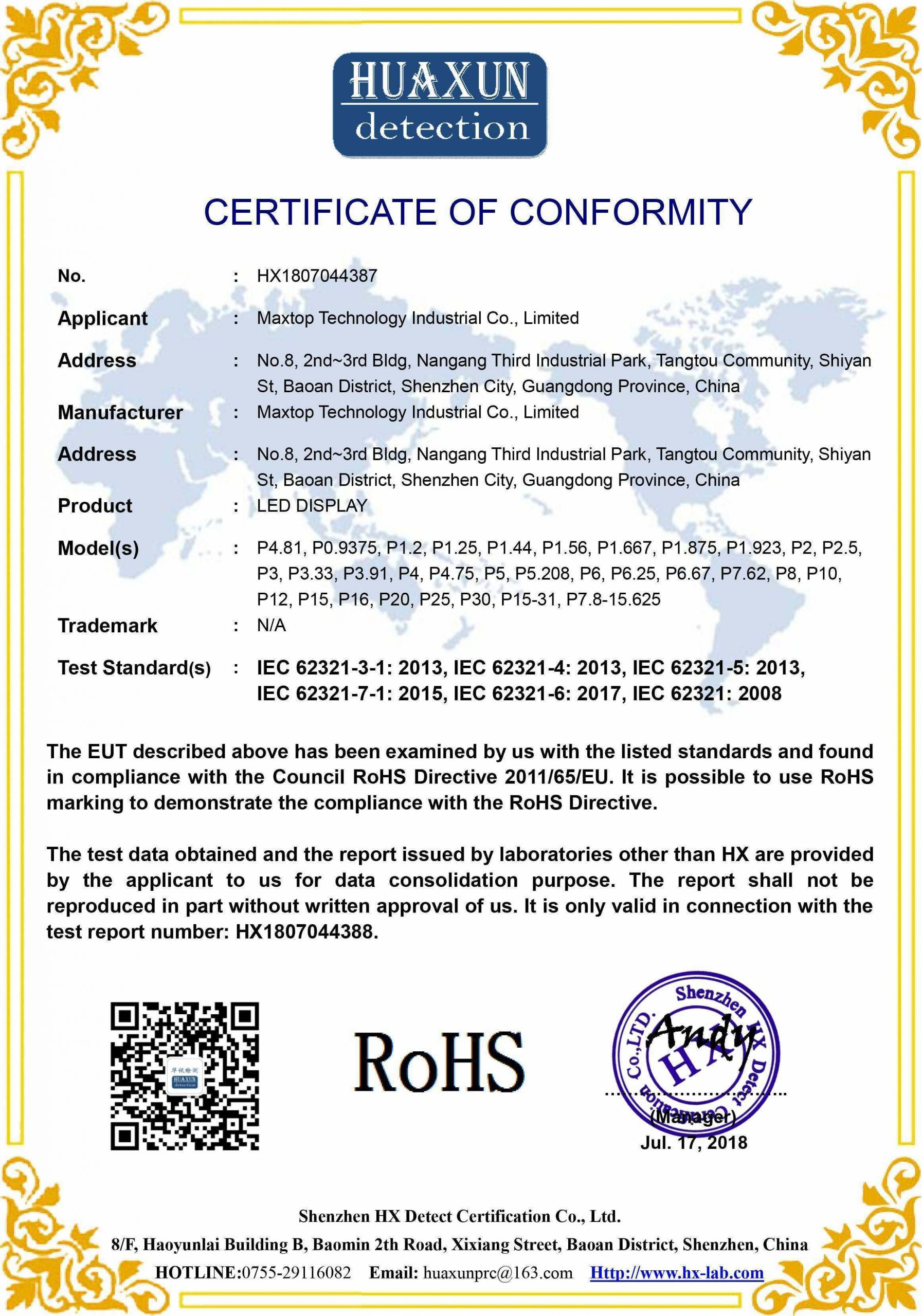ROHS,FC,CE,LVD,led display,led screen,maxtop led,certificate